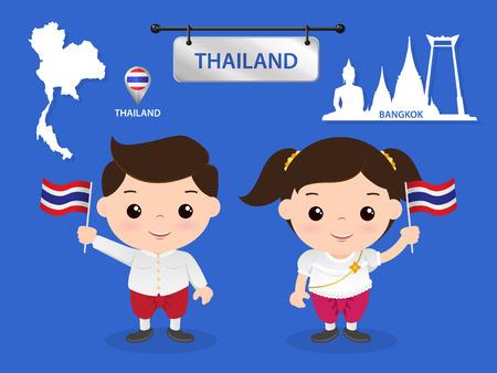 asean: asean economic community (AEC) children thailand Illustration