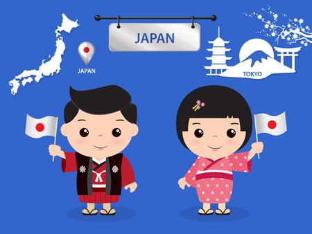 japan Kinder Charakter Illustration