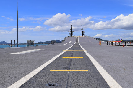 runway on ship and blue sky