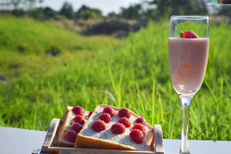 healthy food strawberry yogurt and strawberry fruits