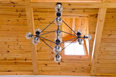 ceiling: Lamps with wood ceiling Stock Photo