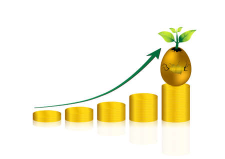 Gold coin stack graph and cracked golden egg; return on investment and growth Illustration