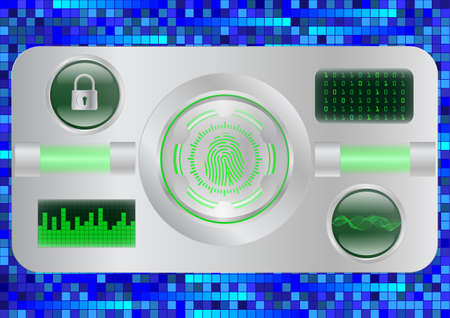 Digital Fingerprint scanner; Identification system; Cyber security concept