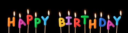 decoracion de pasteles: Velas encendidas con el cumplea�os feliz palabras