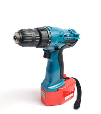cordless: Screwdriver drill on a white background   Stock Photo