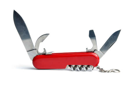 utility knife: Red Swiss army knife multi-tool isolated on white background
