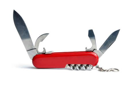 kozik: Red szwajcarski scyzoryk multi-narzędzie samodzielnie na białym tle Zdjęcie Seryjne