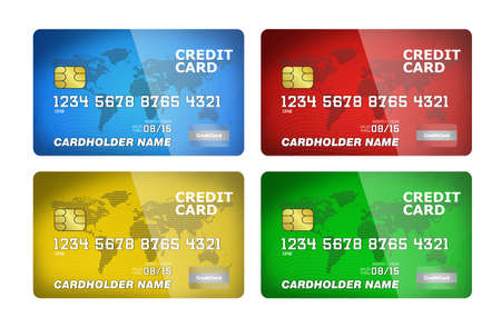 illustration of a plastic credit cards  Isolated on white  Imagens