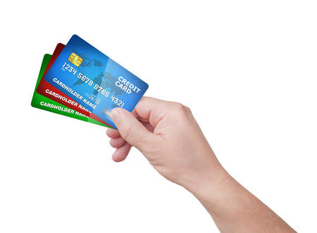 hand holding pack of plastic credit card  Stock Photo - 17132593