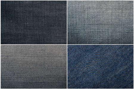 indigo: Set of four blue jeans texture  Stock Photo