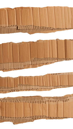Torn strips of corrugated cardboard  photo