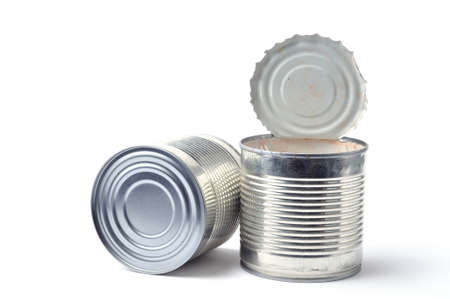 empty cans on white background photo
