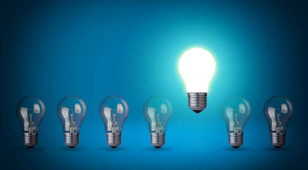 Row of light bulbs Idea concept on blue background