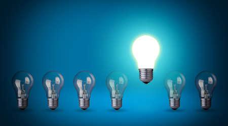 Row of light bulbs Idea concept on blue background