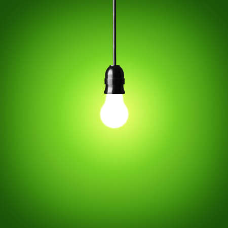 t bulb: Bulb on green background Idea concept