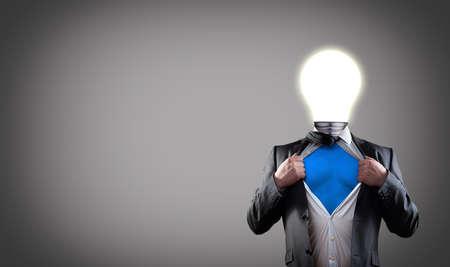 businessman with light bulb head have got an idea