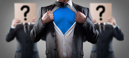 ripping shirt: who is super businessman Stock Photo