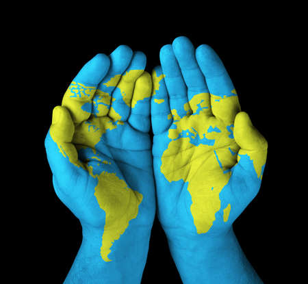 World map painted on hands