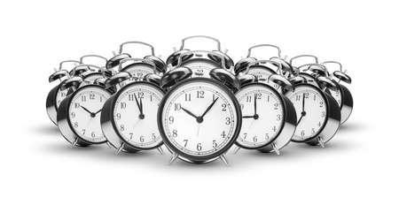 chaos: alarm clocks on white background