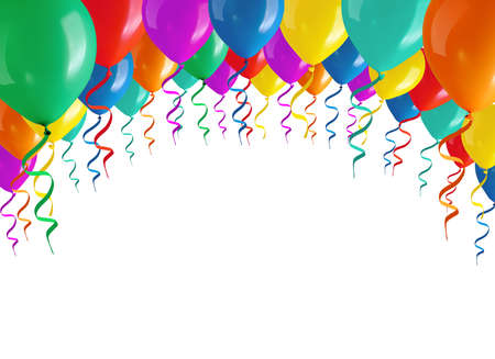 Kleurrijke ballonnen geïsoleerd op witte achtergrond  Stockfoto