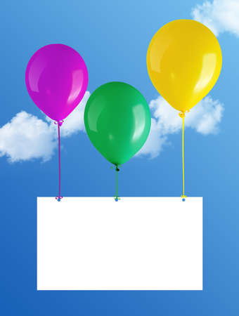 flying balloons with card in blue sky  Stock Photo