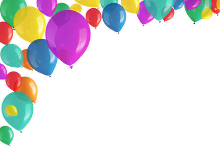 Children s party colorful balloons on white background  photo