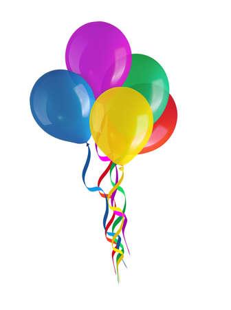 Kinderen s partij kleurrijke ballonnen op een witte achtergrond