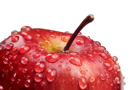 Macro shot of red apple with drops of water