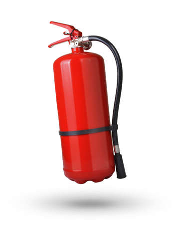 fire extinguishing: fire extinguisher in the air on white background