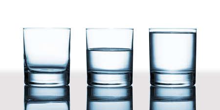 Is the glass half-full or half-empty   Stok Fotoğraf