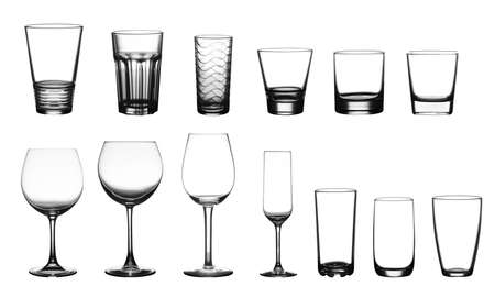 whiskey glass: collection of cup glasses isolated on a white background