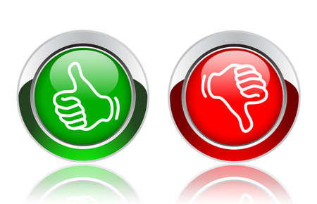 valuation: thumbs up and down buttons Stock Photo