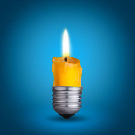 contrasts: candle into light bulb