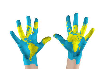 Map painted childs on hands  Concept save the world
