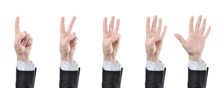 wrist cuffs: businessman counting hands on white background