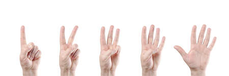 proceed: counting hands on white background