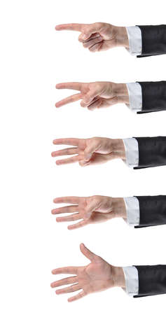 proceed: businessman counting hands on white background