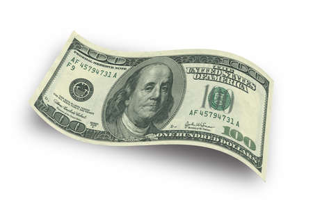 hundred dollar bill: Close up hundred dollar banknote on white background