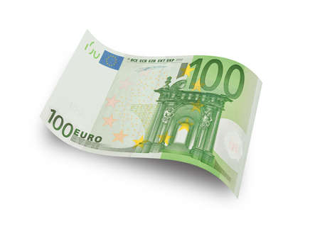 euro banknote: Close up hundred euro banknote on white background  Stock Photo