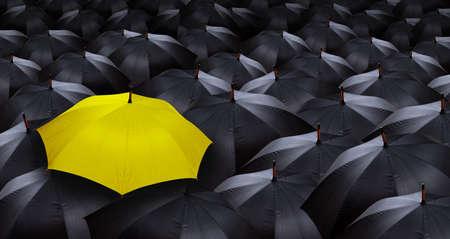 umbrella rain: many blacks umbrellas and one yellow umbrella
