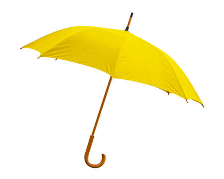 yellow umbrella: Yellow umbrella on white background