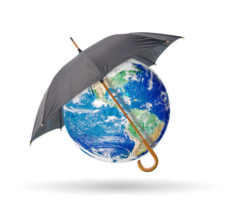 Black umbrella protect earth,isolated on white  photo