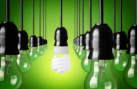power point: Idea concept on green background  Stock Photo
