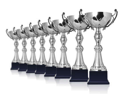 champion silver trophies isolated on white