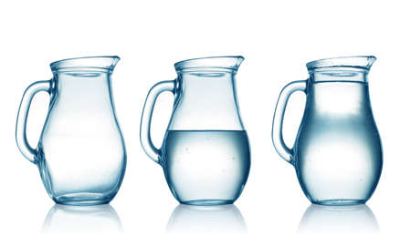 empty,half and full with water jug  Isolated on white