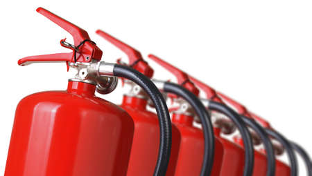 fire extinguishers close up isolated on white  Stok Fotoğraf