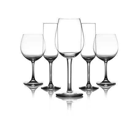 vasos de agua: colección de gafas de taza aislado en un blanco Foto de archivo