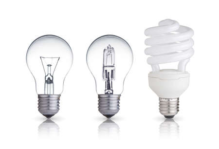 three different bulbs isolated on white  photo