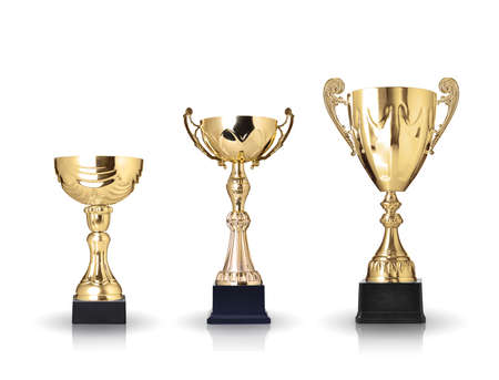 three different kind of golden trophies  Isolated on white background Stock Photo