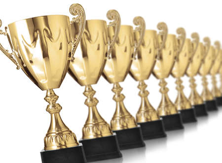 kampioen gouden trofeeën op wit wordt geïsoleerd Stockfoto
